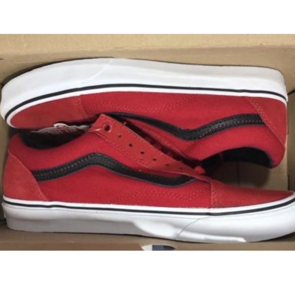 a77c5d6e8d29 Vans Old Skool C P Racing Red Black Skating Shoes